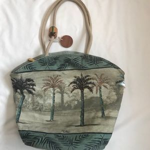 PAUL BRENT BEACH BAG PALM TREES WITH BEADS FABRIC